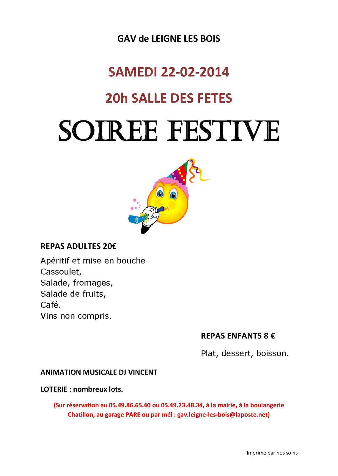 SOIREE FESTIVE samedi 22 février