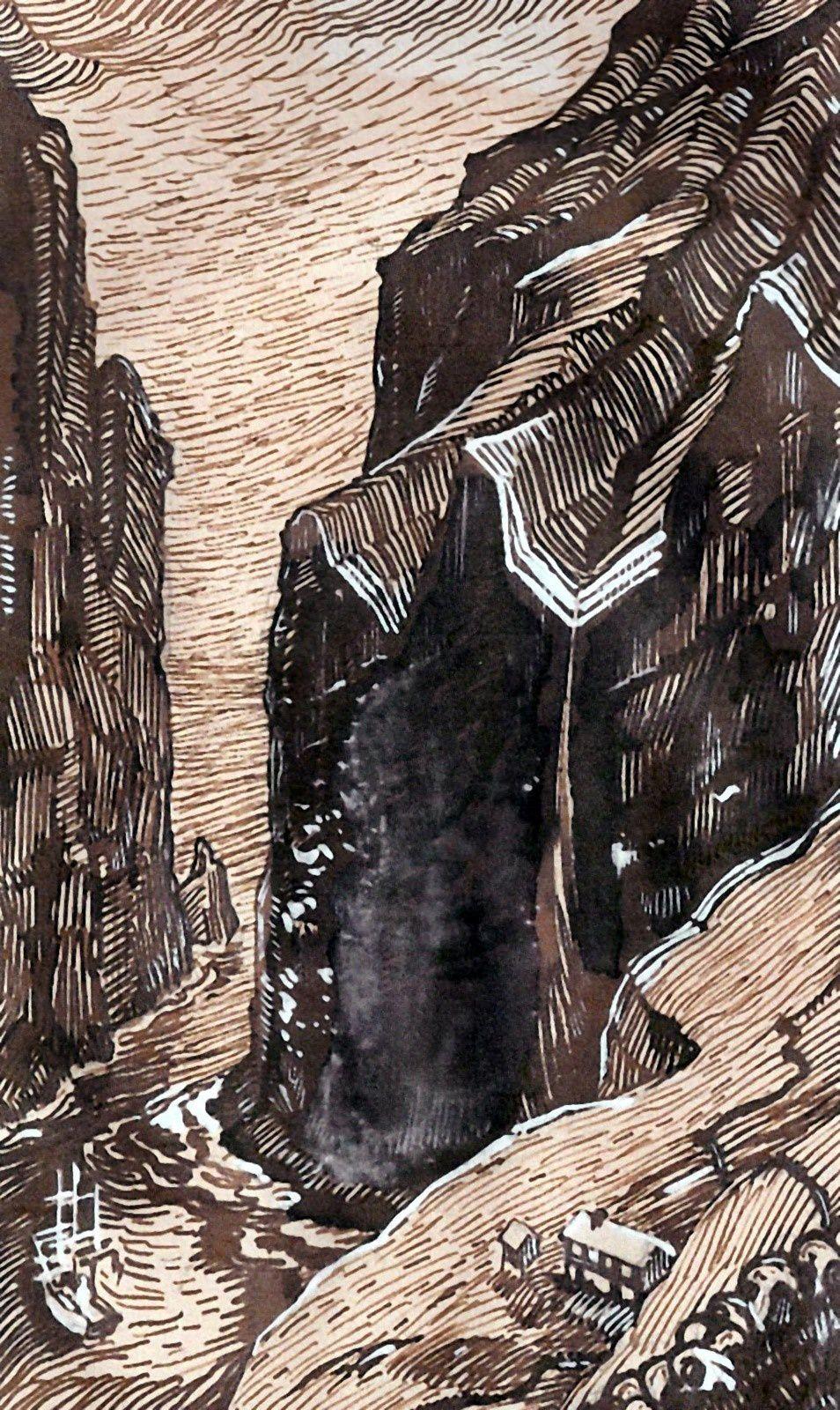 © S. Fenoulière. Dessin préliminaire pour bois gravés, par Pierre Le Conte (de trois).