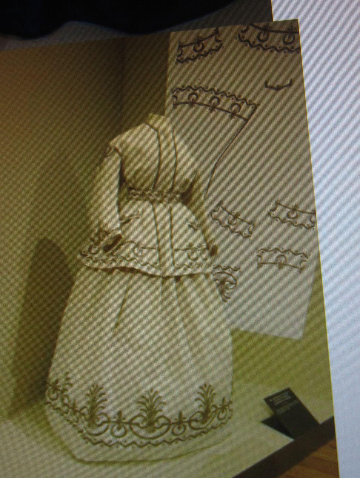 """Et c'est sous le Second Empire que l'on trouve pour la première fois les robes en """"KIT"""", le tissu est imprimé, et il suffit de couper et coudre pour être à la dernière mode ....Toutes ces innovations et l'ouverture des premiers grands magasins, font de cette période une véritable """"Folie textile""""."""