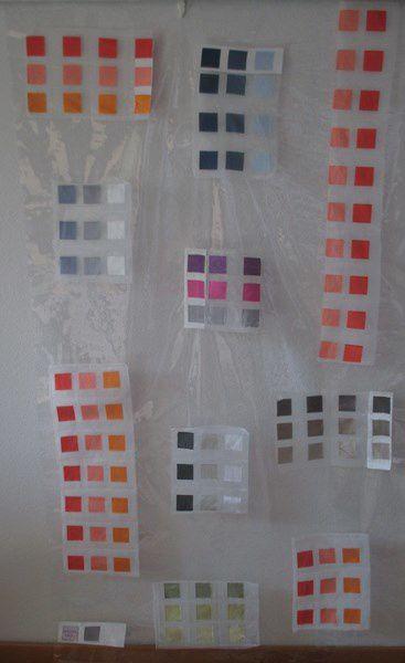 Disciplinée  -- !!! -- j'ai choisi , non l'Art Textile .... mais la peinture sur plastique...agrémentée quand même de petits crarrés d'organza de couleur... on ne se refait pas !!