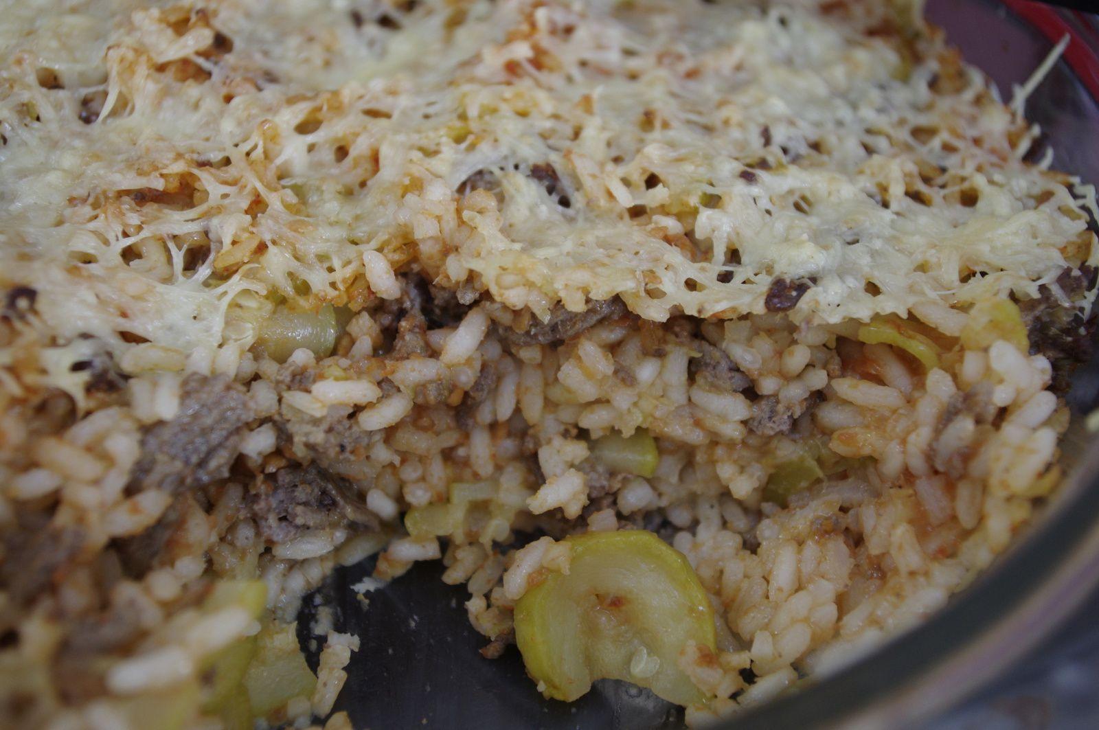 Gratin de riz la viande hach e et aux courgettes - Gramme de riz par personne ...