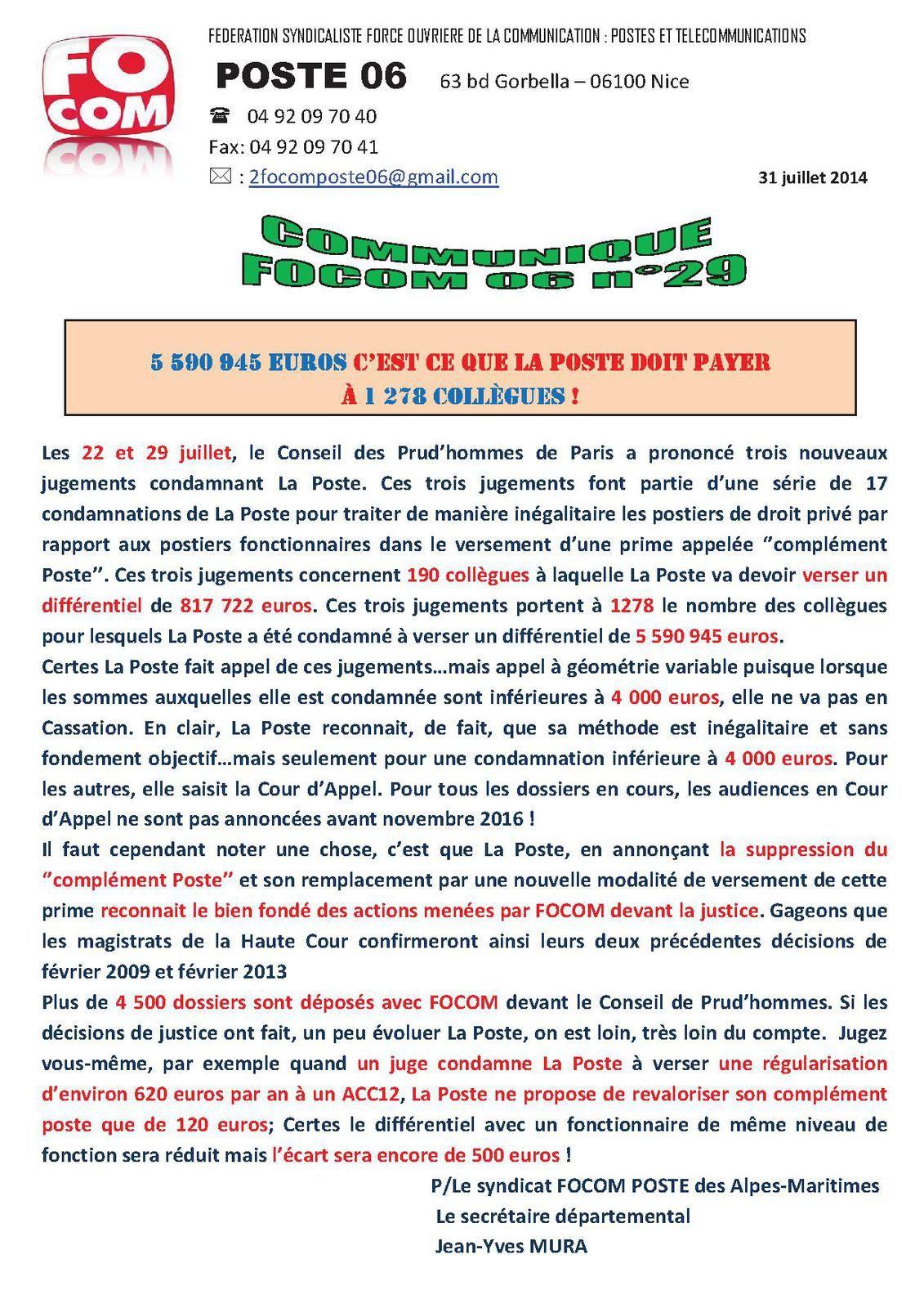 Complement Poste Communique N 29 Du 31 Juillet 2014 Focom Poste 06