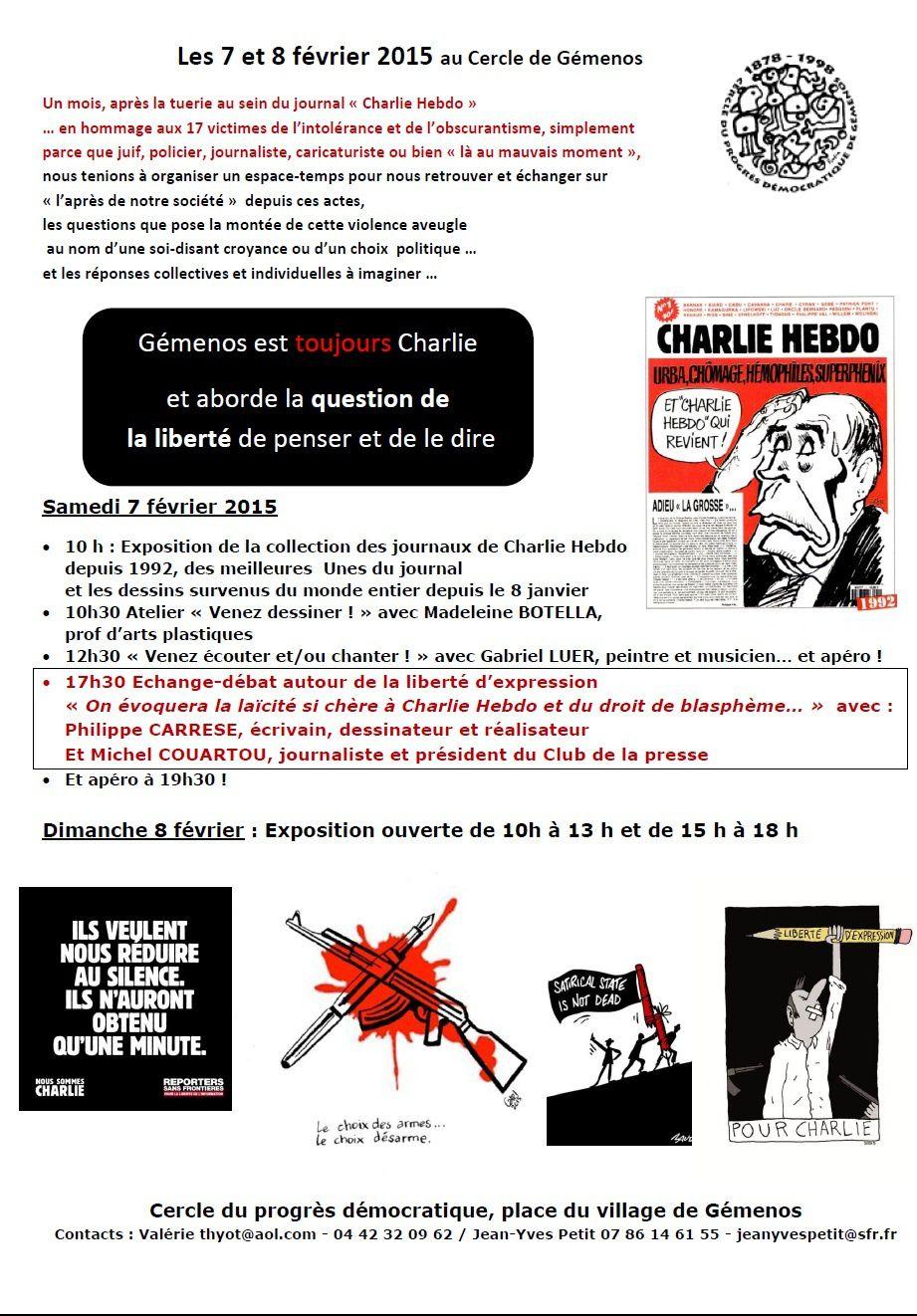 7 et 8 février 2015 au Cercle: Gémenos est toujours Charlie...
