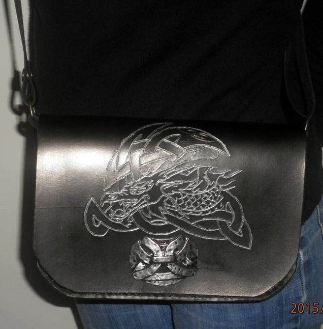Sac à main en cuir de collet motif Dragon