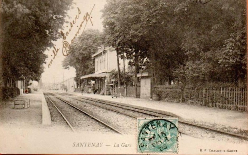 Santenay - La gare (4cpa) suivi de la poste, le camping, la piscine et un hôtel - Santenay.