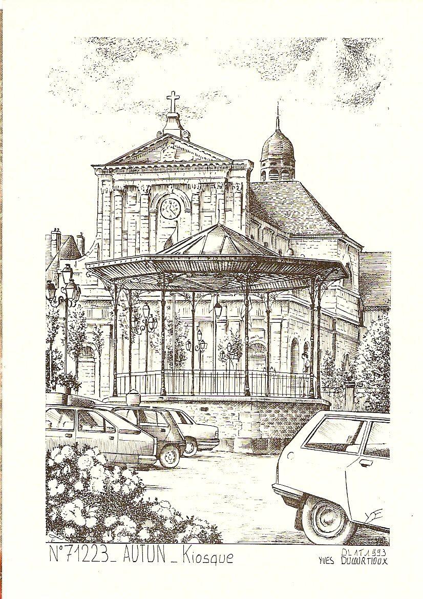 Monument aux Morts, terrasse et église Notre-Dame, Kiosque du Champ de Mars - 71400 Autun.