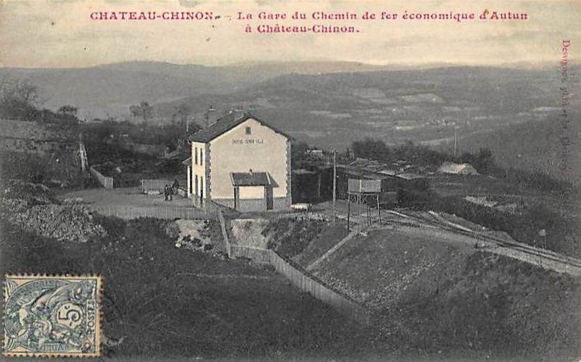 Château Chinon - Le Tacot d'Autun, Vue générale sur la Gare, La gare, L'Avenue de la Gare - Château Chinon.