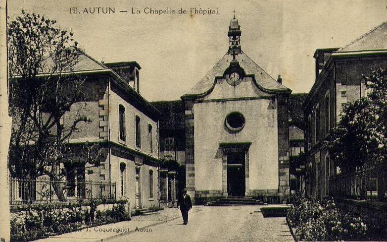 Les grilles et la chapelle de l'Hôpital St Gabriel, l'Hexagone, Ets A. Richard et Clos Jovet Boulevard Laureau 71400 Autun.