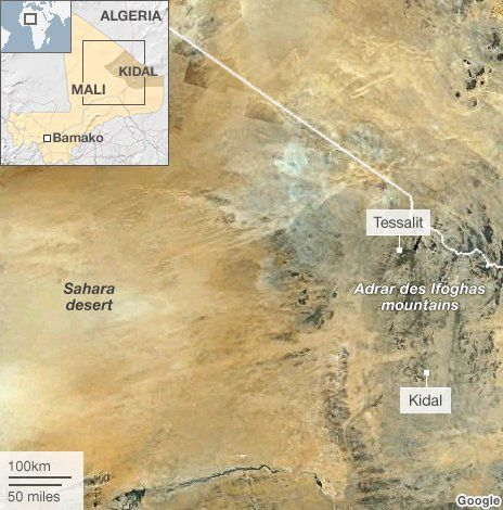 Tessalit and the Adrar des Ifoghas mountains source BBC