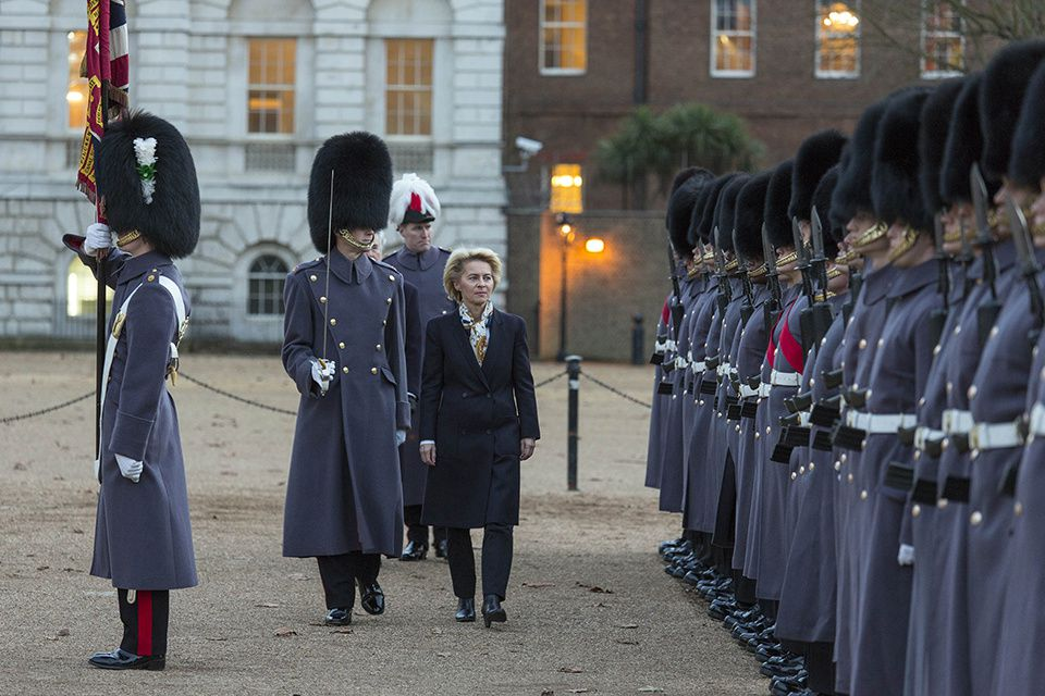 Dr Ursula von der Leyen inspects the Guard of Honour - Picture Harland Quarrington UK MoD