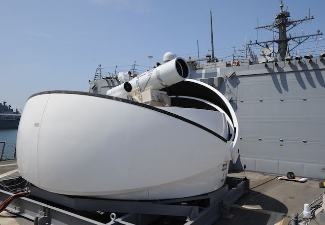 The Laser Weapon System (LaWS) installed aboard USS Dewey. Photo U.S. Navy