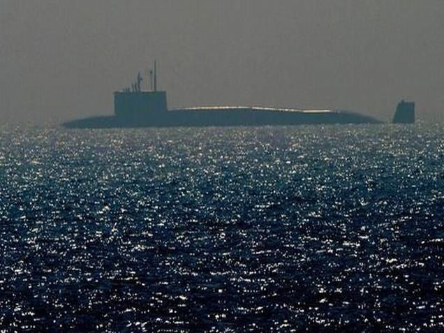 The indigenously built nuclear-powered ballistic submarine INS Arihant seen off Visakhapatnam on Monday. Photo: K.R. Deepak