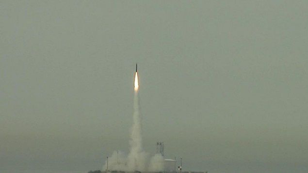Un missile Arrow 3 missile lancé en test (photo U.S. Missile Defense Agency)
