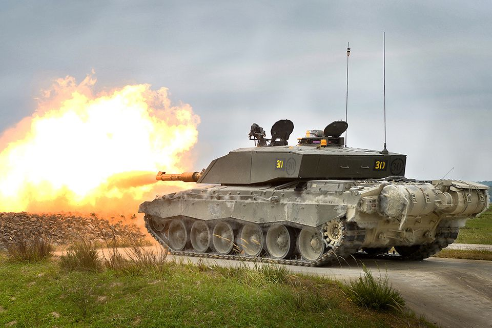 A Challenger 2 main battle tank during a live firing exercise in Grafenwöhr, Germany  photo Corporal Wes Calder RLC, UK MoD
