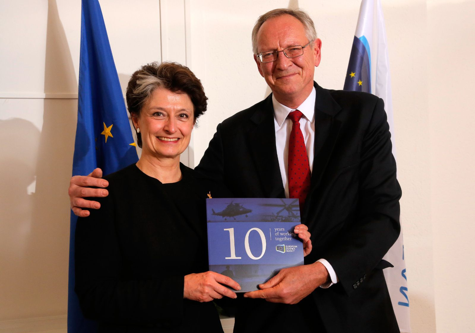 Claude-France Arnould, Chief Executive of the European Defence Agency, with former Chief Executive Nick Witney