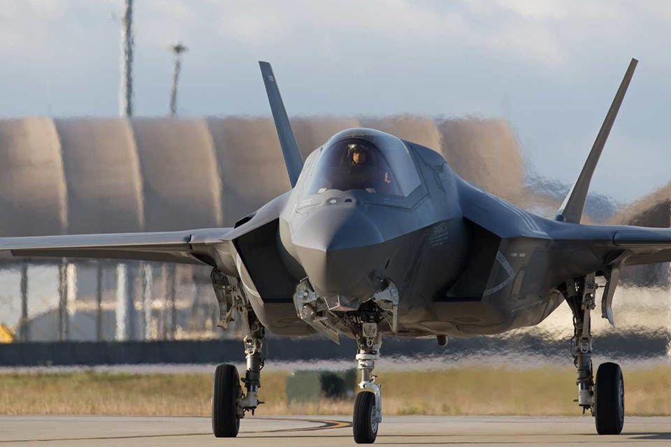 A UK F-35B Lightning II taxiing off from Eglin Air Force Base, Florida, USA.  photo Harland Quarrington UK MoD