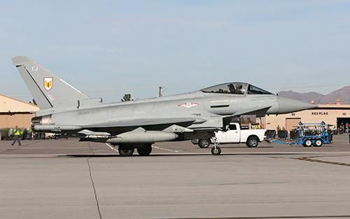 A RAF Typhoon FGR4 aircraft taxiis out at Nellis air force base, Nevada, US. Photo RAF