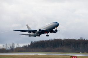 The KC-46 Pegasus EMD aircraft during its maiden flight in US. Photo US Air Force.