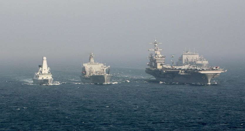 HMS Dauntless (far left) in formation with the US carrier strike group - photo Royal Navy