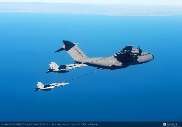 Airbus A400M refuels two F-18 fighters simultaneously