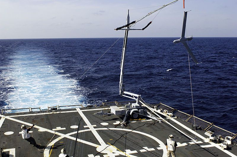 A ScanEagle is recovered at sea aboard the destroyer USS Oscar Austin - photo US Navy