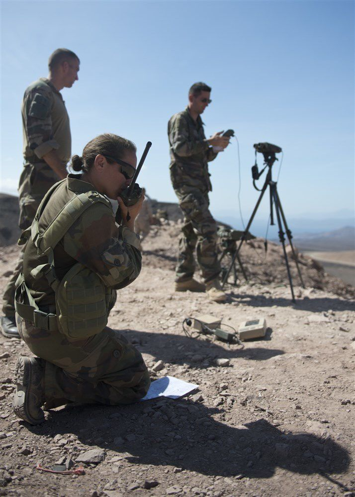 French 3rd Maine Artillery Regiment members provide over watch during a bilateral close air support training exercise in Arta, Djibouti, Feb. 4, 2015