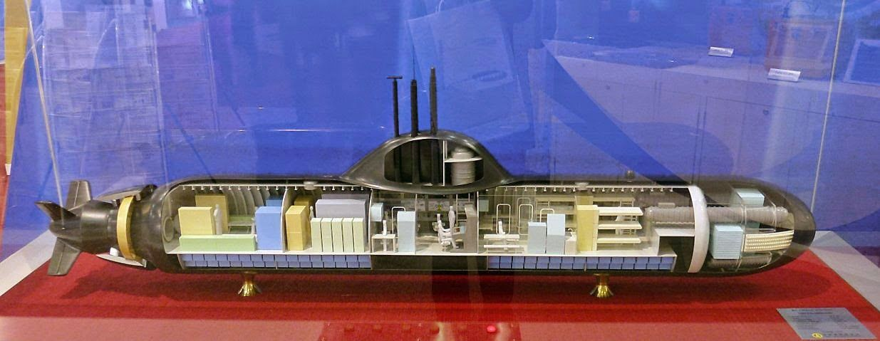A scaled mock-up of Hyundai Heavy Industry KSS-500A submarine.