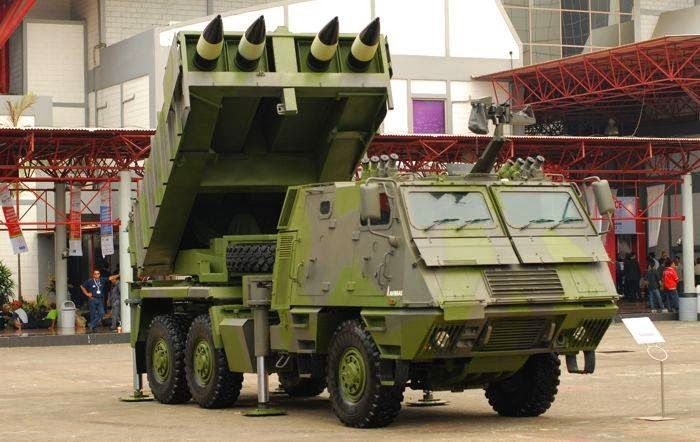 Indonesian Army Astros MLRS made in Brazil.
