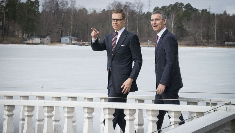 NATO Secretary General Jens Stoltenberg and the Prime Minister of Finland, Alexander Stubb