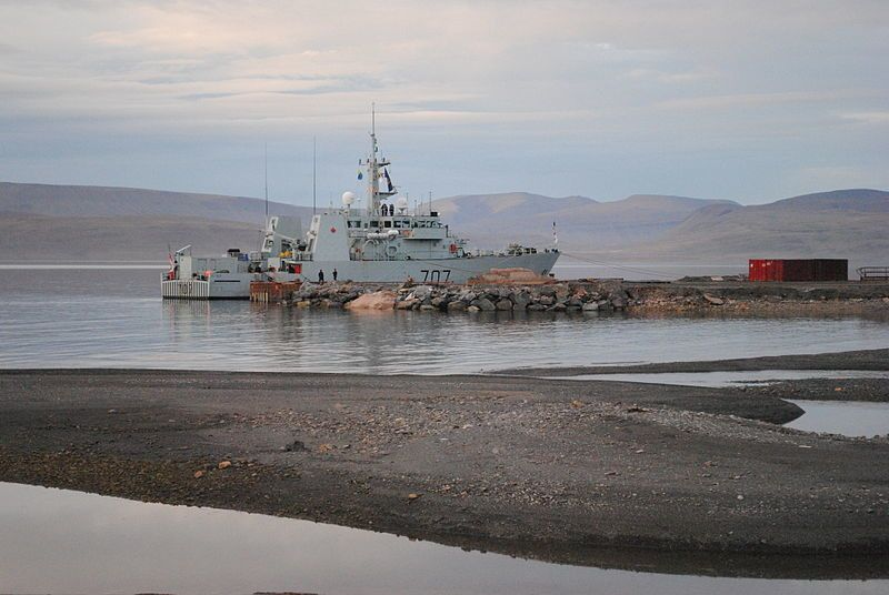 NCSM Goose Bay moored at the future site of the Nanisivik Naval Facility, during Operation Nanook 20 August 2010 – photo Goosepolish