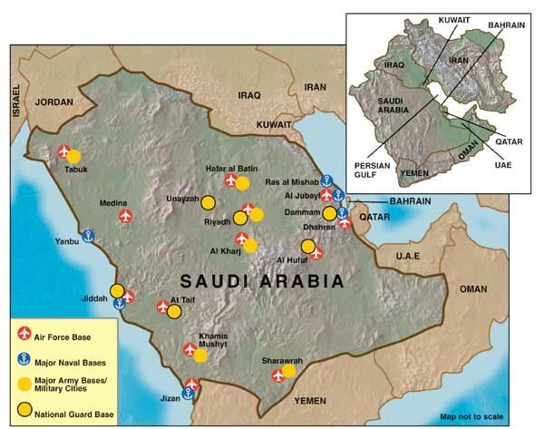Saudi Arabia defence Map (Feb 2015) - source indiandefencereview