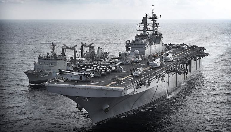 HMAS Success works with USS Iwo Jima in Middle East