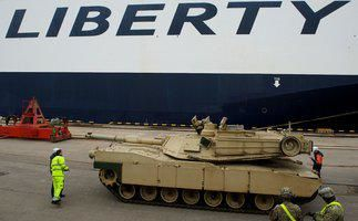Abrams Tanks arrive in Latvia--ready for Operation Atlantic Resolve photo US DoD