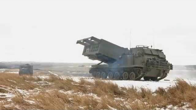 Gunners fire Multi Launch Rocket System at Otterburn