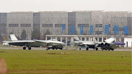 Two J-20 prototypes seen on test flights in Chengdu