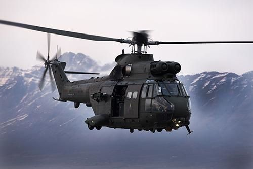 A UK Royal Air Force's Puma HC Mk2 helicopter in flight. Photo RAF