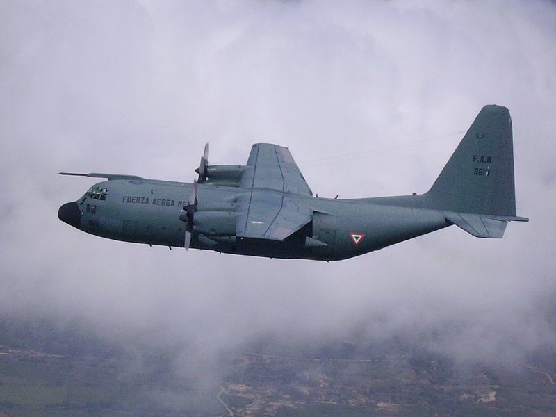 A Mexican Air Force C-130K Hercules aircraft in flight. Photo Zahpo75