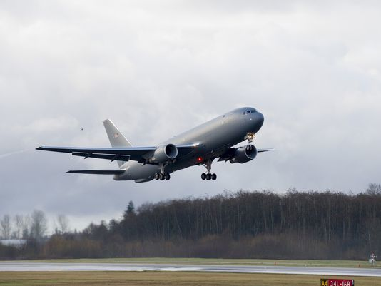 Boeing's first KC-46 tanker test aircraft takes off from Paine Field, Washington, on its inaugural flight in Dec. 28, 2014.(Photo Paul Gordon Boeing)