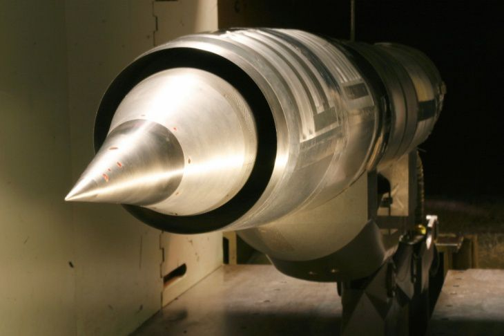 A RATTLRS cruise-missile inlet undergoes testing at the High Speed Wind Tunnel at Lockheed Martin Missiles and Fire Control in Grand Prairie