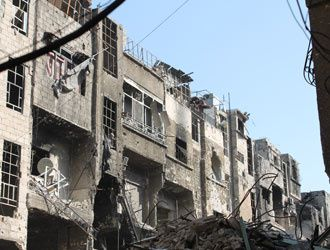 The destroyed streets of Yarmouk. photo UNRWA