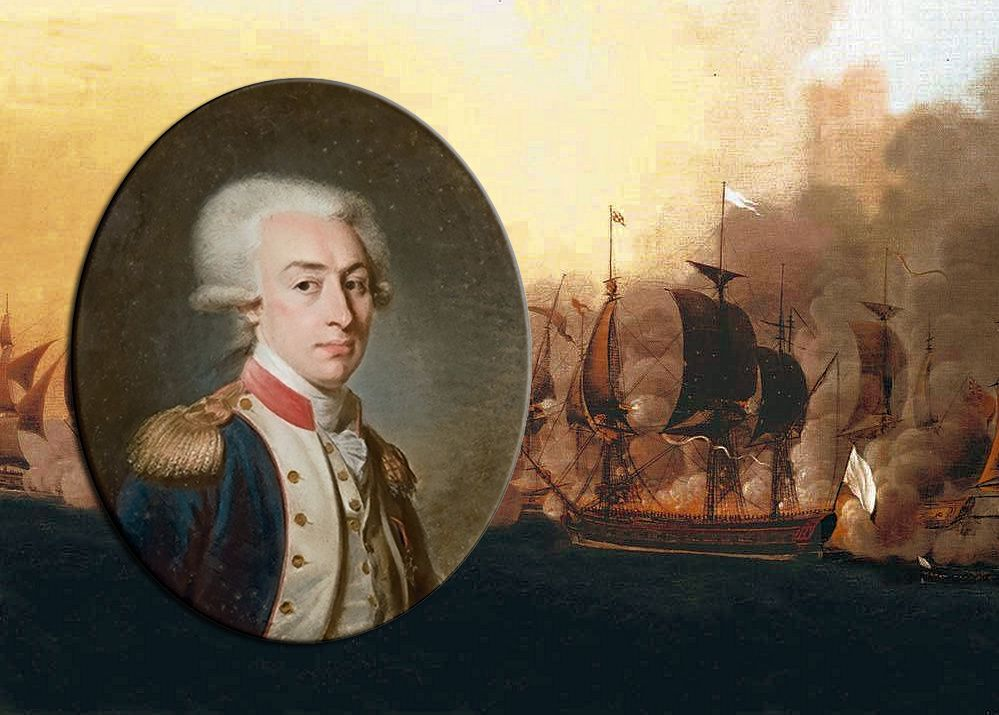 A pre-1791 portrait of Lafayette by Jean-Baptiste Weyler over a detail of Hermione in the Naval battle of Louisbourg, 1781 by Auguste-Louis de Rossel de Cercy