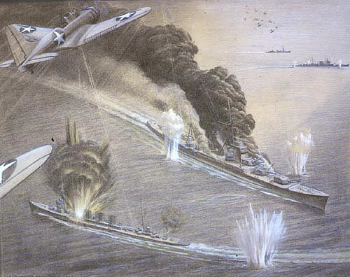 The attack on the Japanese cruisers Mogami and Mikuma, 6 June 1942. Charcoal and chalk by Commander Griffith Bailey Coale, USNR, official U.S. Navy combat artist, 1942
