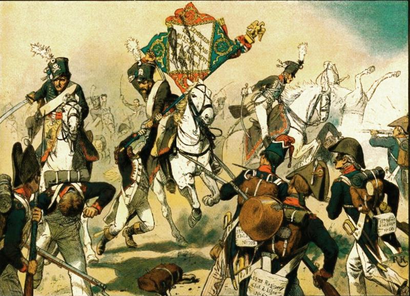 Der Ehrentag der schwarzen Husaren bei Heilsberg in Ostpreußen (10. Juni 1807)- credits Richard Knötel