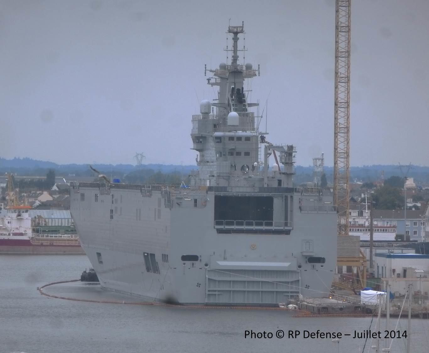 The Vladivostok amphibious assault ship of the Mistral class at the STX Europe shipyard in Saint-Nazaire