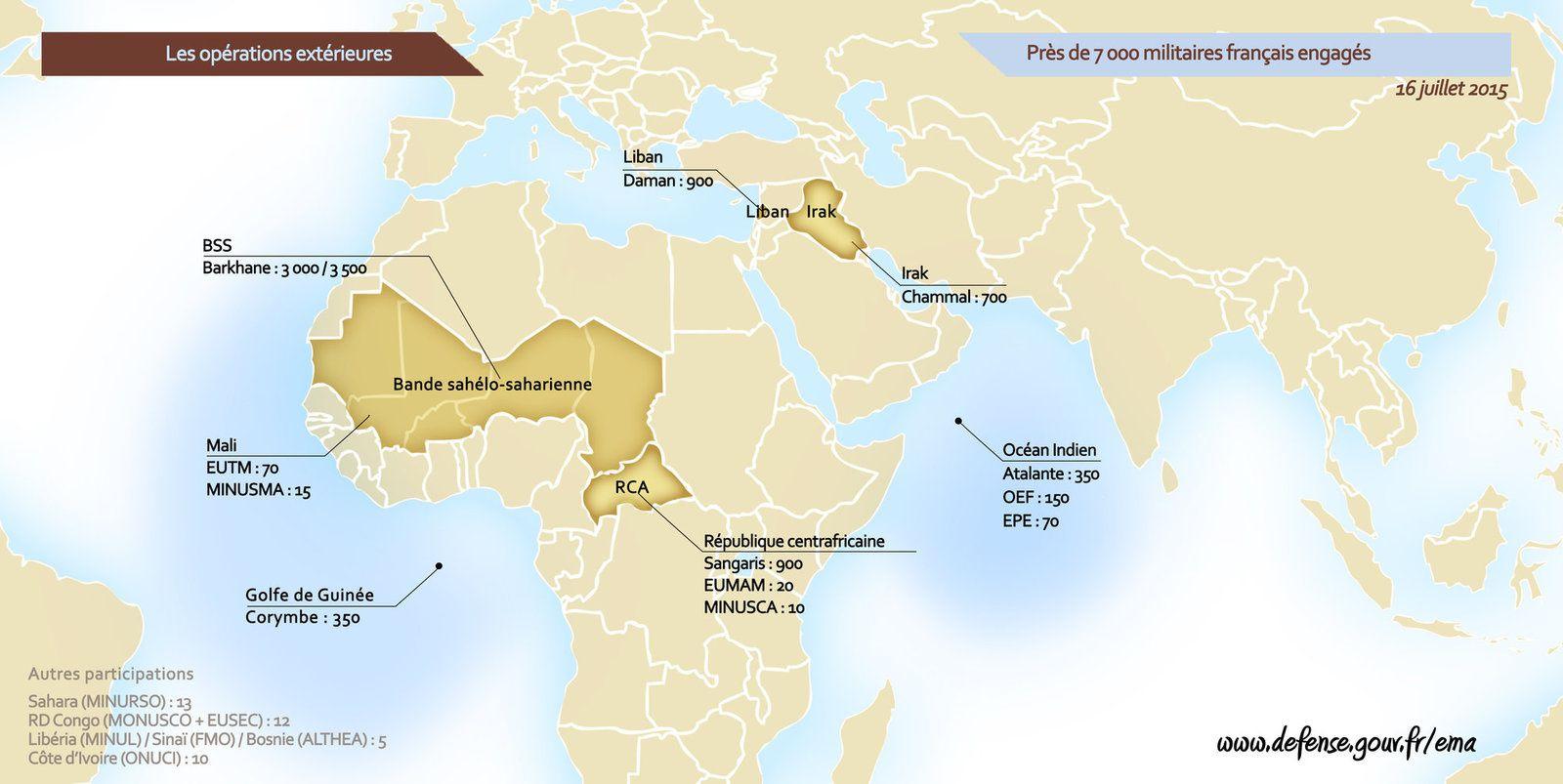 Carte des opérations extérieures (màj 16 Juillet 2015)