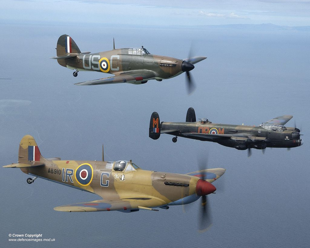 Hurricane Mark II, Avro Lancaster Mk 1 &amp&#x3B; Spitfire Mark Vb over Blackpool