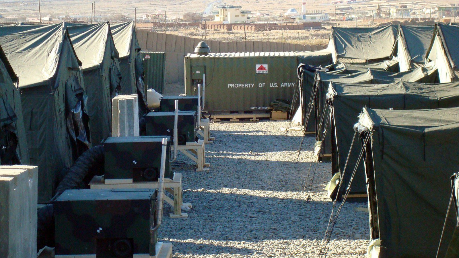 LOGCAP IV Tent Installation and Construction at Forward Operating Base - photo Fluor Corporation