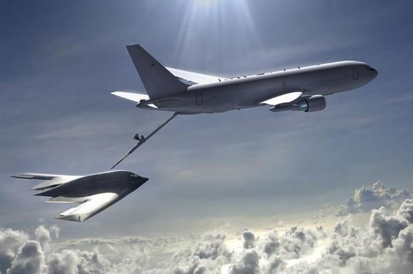 A Boeing KC-46A tanker aircraft depicted in aerial refueling. Photo Boeing