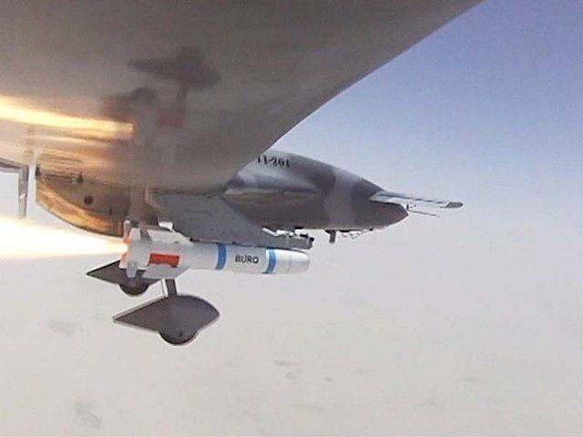 UCAV Burraq launching the laser-guided missile Burq