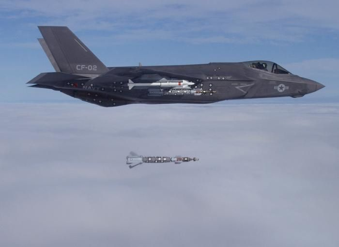 F-35C Conducts First External Weapons Release with Not One, but Four 500-pound Bombs